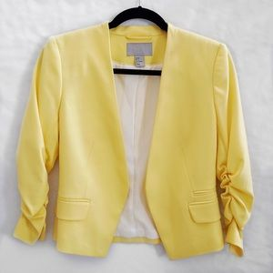 H&M Yellow Cropped Blazer with Ruffled Sleeves